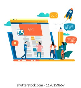 News update, online news, newspaper, news website flat vector illustration design. News webpage, information about events, activities, company information and announcements