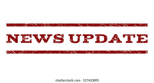 News Update watermark stamp. Text caption between horizontal parallel lines with grunge design style. Rubber seal dark red stamp with dirty texture. Vector ink imprint on a white background.