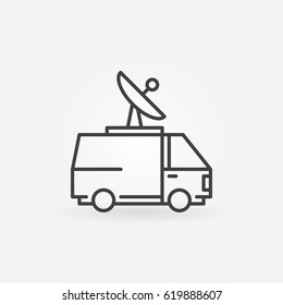 News van icon. Vector minimal outside broadcasting van sign or logo element in thin line style