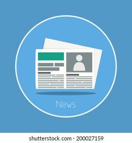 News : Vector newspaper icon flat design