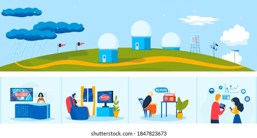 News weather meteorology service vector illustration. Cartoon flat people watching meteorologist tv radio program forecast, meteorological center station with weather measuring equipment background