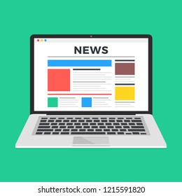 News website on laptop screen. Online news. Modern flat design vector illustration