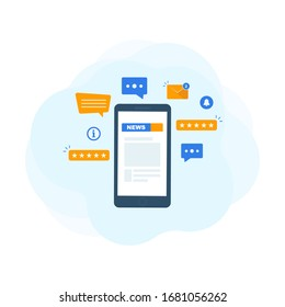 News website on smartphone  screen. Set of different icons. Online news. Modern flat design vector illustration. Outbreak of novel coronavirus news around the globe.  Stay informed.