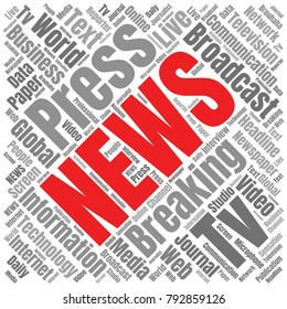 News Word Cloud. Breaking News Vector Collage Made of Popular Tags