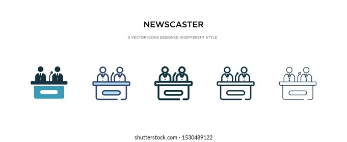 newscaster icon in different style vector illustration. two colored and black newscaster vector icons designed in filled, outline, line and stroke style can be used for web, mobile, ui