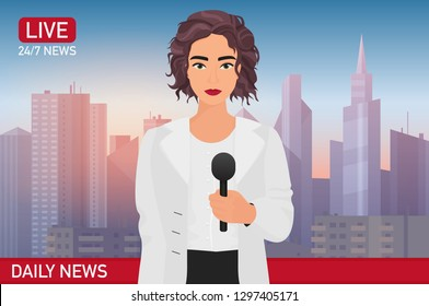 Newscaster pretty beautiful woman reports breaking news. Media TV news concept vector illustration.