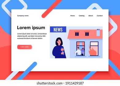 Newscaster reporting about building fire. People in danger, flame in window, reporter. Flat vector illustration. Broadcasting, accident concept for banner, website design or landing web page