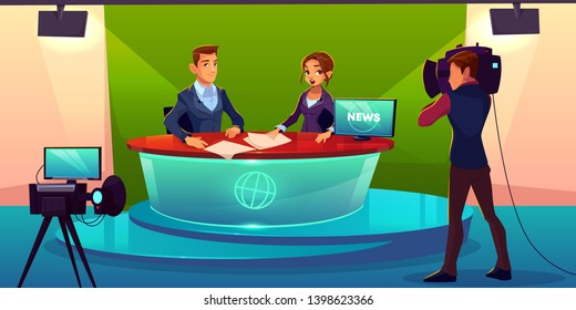 Newscasters team live broadcast cartoon vector. Journalist and TV show guest, invited expert sitting at desk in television chanel studio during interview record, breaking news presenting illustration
