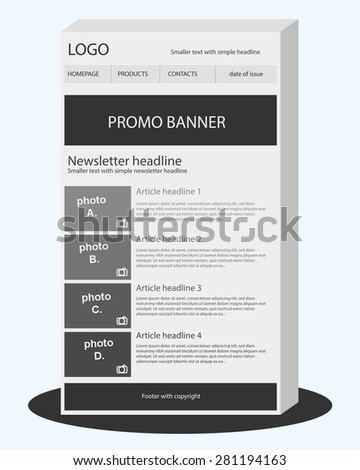 newsletter black white template stock vector royalty free