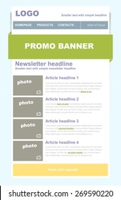 Newsletter business template with green color