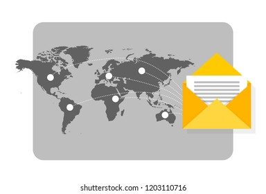 Newsletter concept illustration with mail flying spreading around the world with map as background.