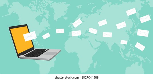 newsletter concept illustration with notebook laptop and mail flying spreading around the world with map as background