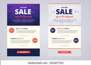 Newsletter design template for sale, two color variants with discount offer. Vector illustration in EPS10