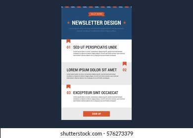 Newsletter design template. Vector illustration in flat style.
