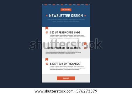 Newsletter Design Template Vector Illustration Flat Stock Vector