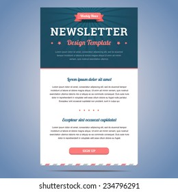 Newsletter design template for weekly company news with header and sign up button. Vector illustration.