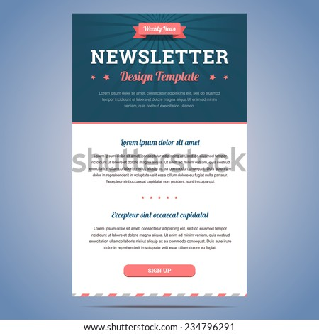 newsletter design template weekly company news のベクター画像素材