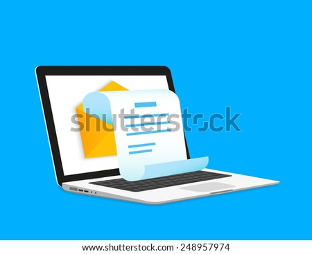 Newsletter email illustration with laptop isolated on blue. Laptop mail with a new letter in the inbox open to read or send to other mailbox. Vector newsletter icon for delivery or to read a new email
