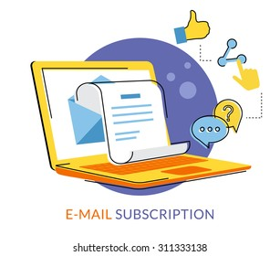 Newsletter flat contour illustration with laptop and social media symbols isolated on white
