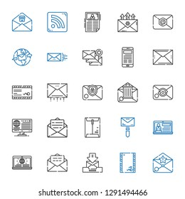 newsletter icons set. Collection of newsletter with email, envelope, news, mail, rss feed. Editable and scalable newsletter icons.