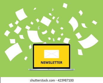 newsletter with letter and laptop notebook and paper flying as background vector graphic illustration