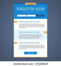 Newsletter page design. Web design for email marketing. Landing page with sign up form and features. Daily news email template. Vector illustration in flat style.