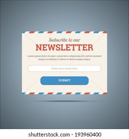 Newsletter subscribe form for web and mobile. Vector illustration in EPS10.