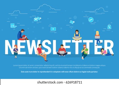 Newsletter subscribers concept illustration of young man and woman using laptop, digital tablets and smart phones for receiving commercial letters and promotion offers. Flat people and email