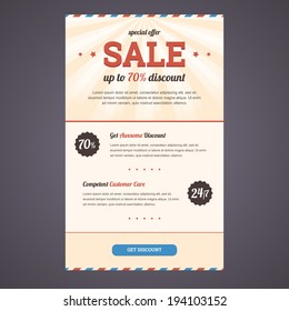 Newsletter template design in flat style with discount offer. Vector illustration in EPS10