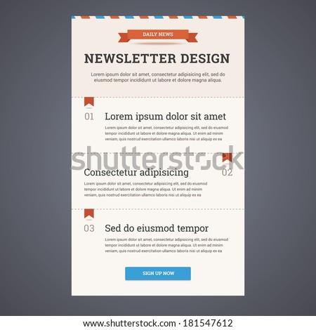 newsletter template design sign button vector stock vector royalty