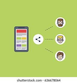 newspaper app on smartphone - illustration, vector