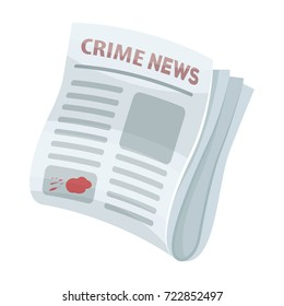Newspaper crime news.Crime article in the press single icon in cartoon style vector symbol stock illustration web.