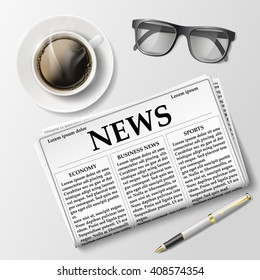 Newspaper with a cup of coffee and glasses on the table. Morning News and breakfast. Stock vector illustration.