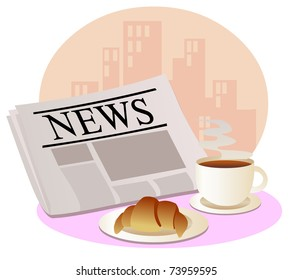 Newspaper, a cup of hot coffee and croissant at workplace