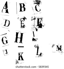 Newspaper cutout styled letters, easily editable