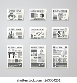 Newspaper daily flat vector set design template.business,health, education, technology and sport design.