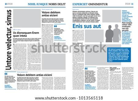 Newspaper Design Template Blue Headline Image Vectorielle De Stock