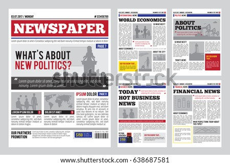 newspaper design template red headline images のベクター画像素材