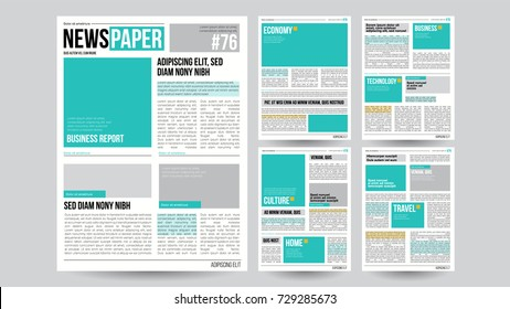 Newspaper Design Template Vector. Images, Articles, Business Information. Opening Editable Headlines Text Articles. Realistic Isolated Illustration