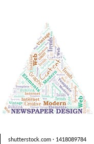 Newspaper Design word cloud. Wordcloud made with text only.