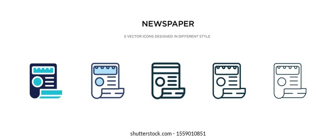 newspaper icon in different style vector illustration. two colored and black newspaper vector icons designed in filled, outline, line and stroke style can be used for web, mobile, ui