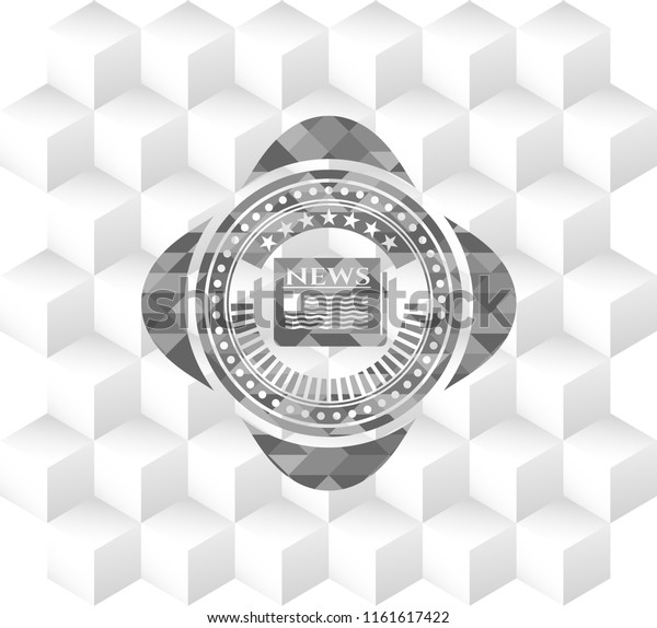newspaper icon inside grey emblem with cube white background