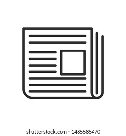 Newspaper icon vector sign isolated on white background. Newspaper symbol template color editable