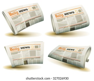 Newspaper Icons Set/ Illustration of a set of cartoon daily or weekly printed newspaper publication icons