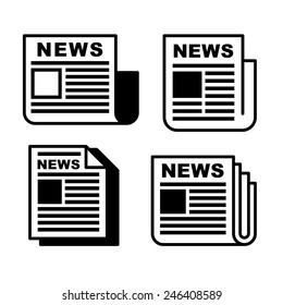 Newspaper icons set on white . Vector illustration EPS8.