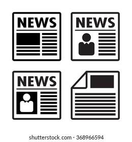 Newspaper icons set, vector
