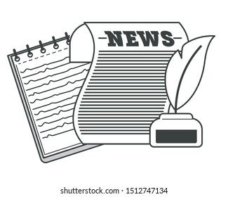 Newspaper with Ink and feather, notepad with spiral binder vector. Isolated icons of vintage press and papers. Journalist kit consisting of notebook with notes about events. Daily articles in digest