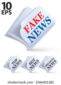 Newspaper isolated on white. Fake, top, hot, breaking news. Creative vector 3d illustration
