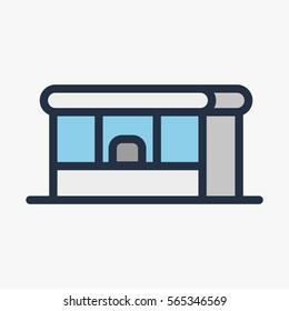 Newspaper Kiosk Booth Shop Store Building Minimal Colorful Flat Line Stroke Icon Pictogram Symbol Illustration