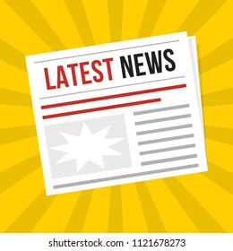 Newspaper latest news, flat vector daily icon with sun rays, vector web illustration art object with red headline. Publication, interview, reportage, article symbol.